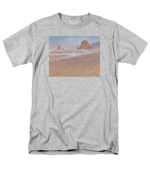 Coastal Escape  Cannon Beach Oregon And Haystack Rock  Men's T-Shirt  (Regular Fit) by Karen Whitworth