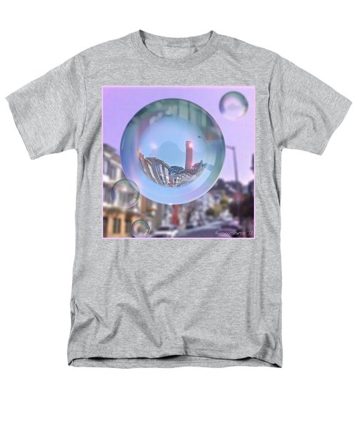 Coit Tower In A Bubble And Purple Sky Men's T-Shirt  (Regular Fit) by Anna Porter