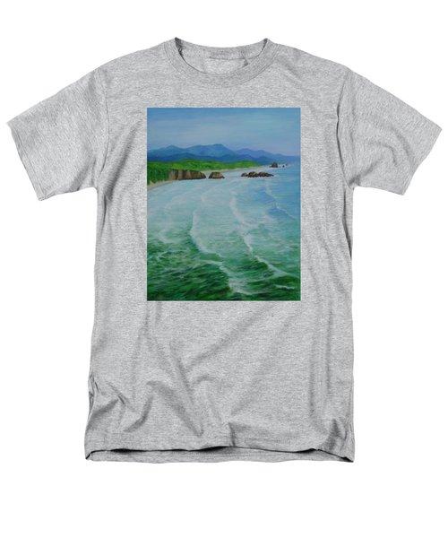 Colorful Seascape Oregon Cannon Beach Ecola Landscape Art Painting Men's T-Shirt  (Regular Fit) by Elizabeth Sawyer