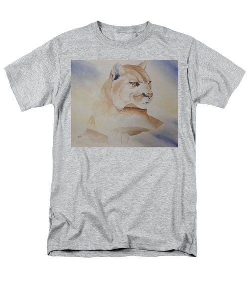 Men's T-Shirt  (Regular Fit) featuring the painting Cougar On Watch by Richard Faulkner