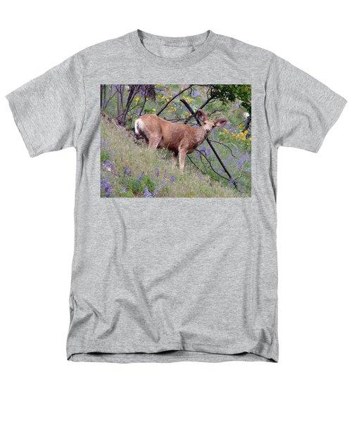 Deer In Wildflowers Men's T-Shirt  (Regular Fit) by Athena Mckinzie