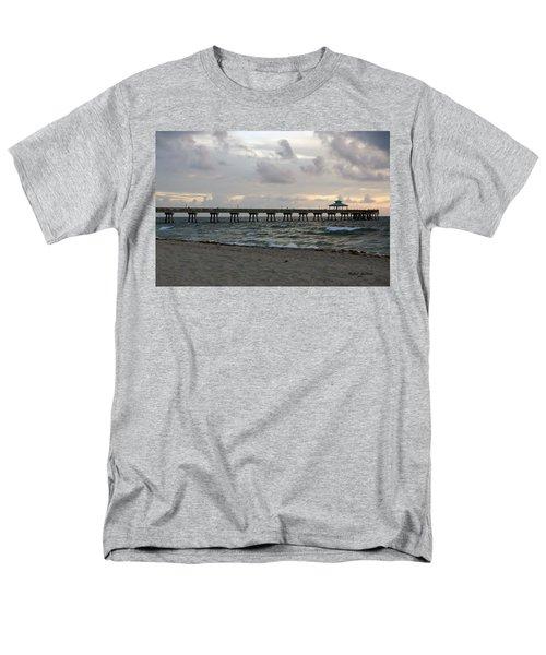 Men's T-Shirt  (Regular Fit) featuring the photograph Deerfield Beach International Fishing Pier Sunrise by Rafael Salazar