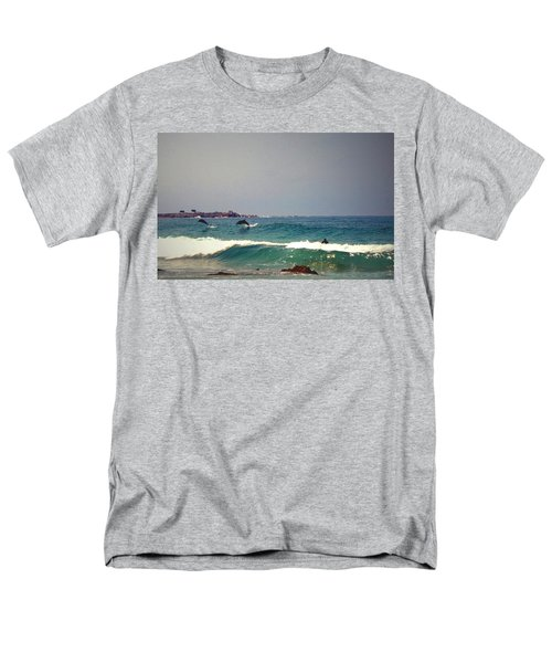 Dolphins Swimming With The Surfers At Asilomar State Beach  Men's T-Shirt  (Regular Fit) by Joyce Dickens