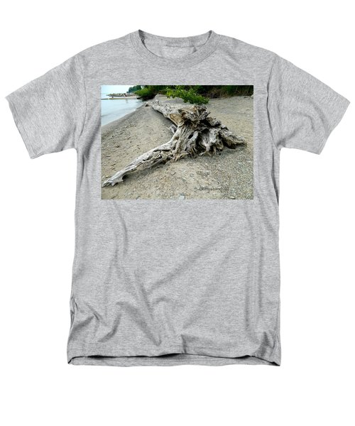 Men's T-Shirt  (Regular Fit) featuring the photograph Driftwood At Lake Erie by Kathy Barney