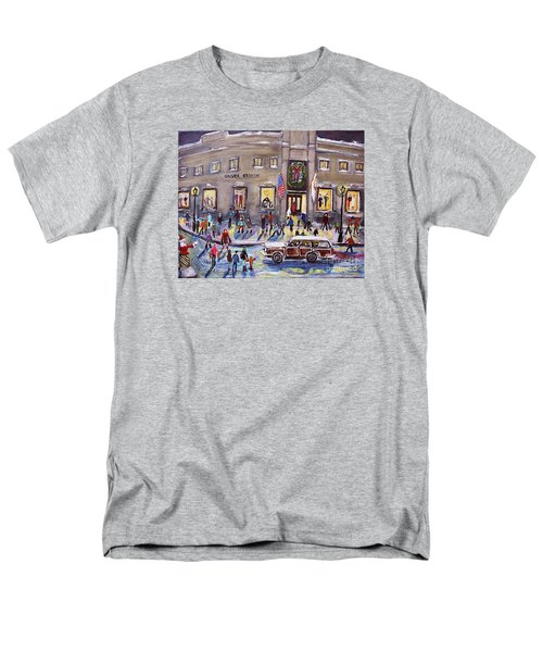 Men's T-Shirt  (Regular Fit) featuring the painting Evening Shopping At Grover Cronin by Rita Brown