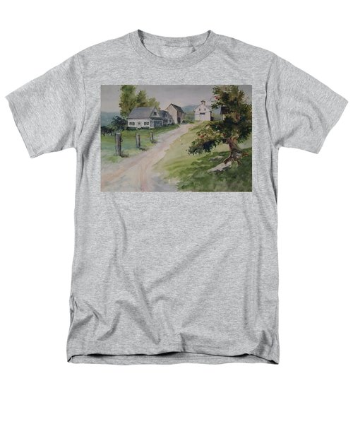 Men's T-Shirt  (Regular Fit) featuring the painting Farm On Orchard Hill by Joy Nichols