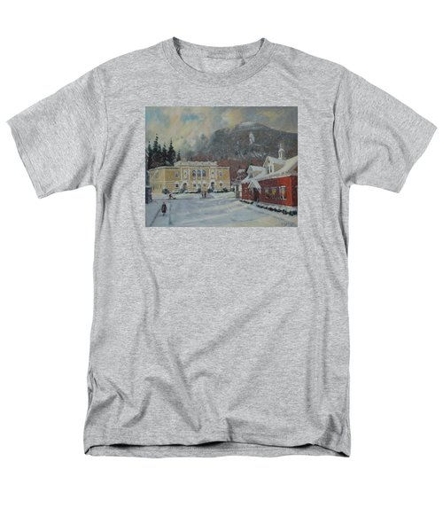 Men's T-Shirt  (Regular Fit) featuring the painting Flurries Over Mount Greylock by Len Stomski