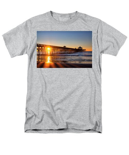 Men's T-Shirt  (Regular Fit) featuring the photograph Folly Beach Pier At Sunrise by Lynne Jenkins