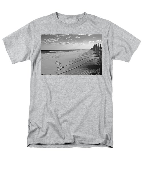 Men's T-Shirt  (Regular Fit) featuring the photograph Footprints In The Sand by Debra Fedchin