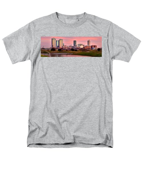 Men's T-Shirt  (Regular Fit) featuring the photograph Fort Worth Skyline At Dusk Evening Color Evening Panorama Ft Worth Texas  by Jon Holiday