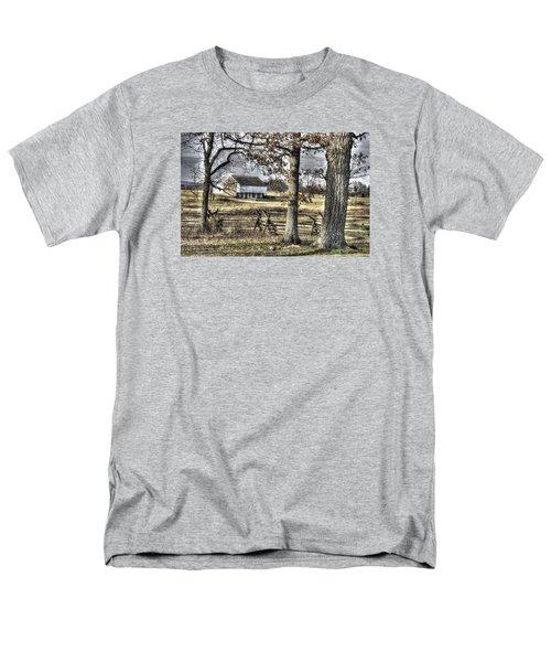 Men's T-Shirt  (Regular Fit) featuring the photograph Gettysburg At Rest - Winter Muted Edward Mc Pherson Farm by Michael Mazaika