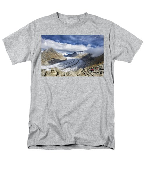 Great Aletsch Glacier Swiss Alps Switzerland Europe Men's T-Shirt  (Regular Fit) by Matthias Hauser