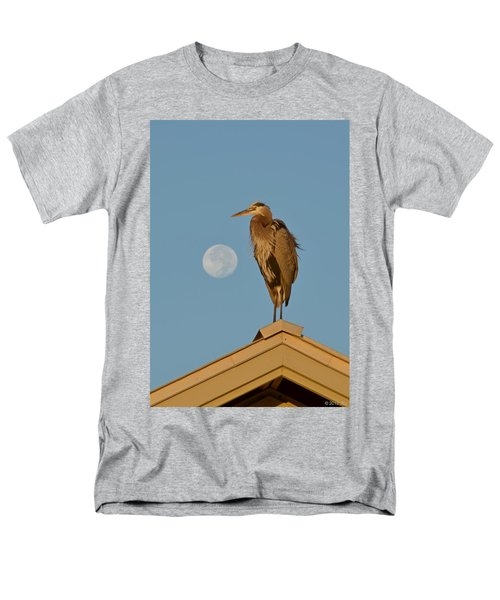 Men's T-Shirt  (Regular Fit) featuring the photograph Harry The Heron Ponders A Trip To The Full Moon by Jeff at JSJ Photography