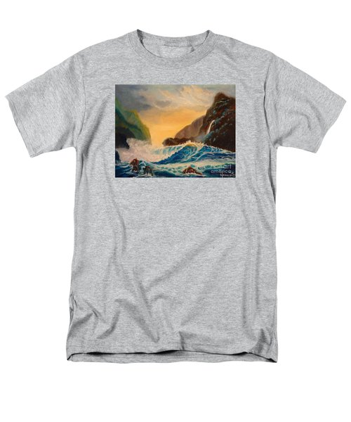 Men's T-Shirt  (Regular Fit) featuring the painting Hawaiian Turquoise Sunset   Copyright by Jenny Lee