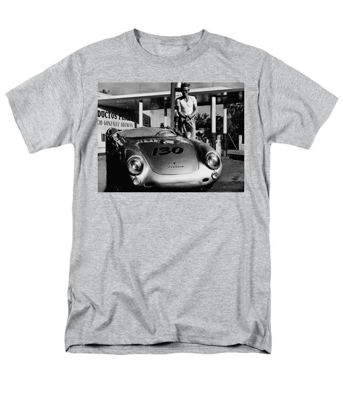 James Dean Filling His Spyder With Gas In Black And White Men's T-Shirt  (Regular Fit) by Doc Braham