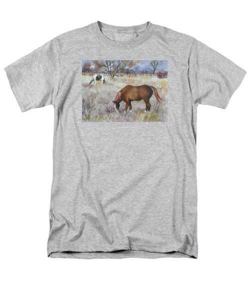 Men's T-Shirt  (Regular Fit) featuring the painting Jill's Horses On A November Day by Anne Gifford