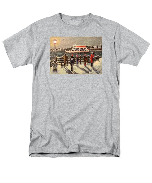 Men's T-Shirt  (Regular Fit) featuring the painting Last Ferry by Rita Brown
