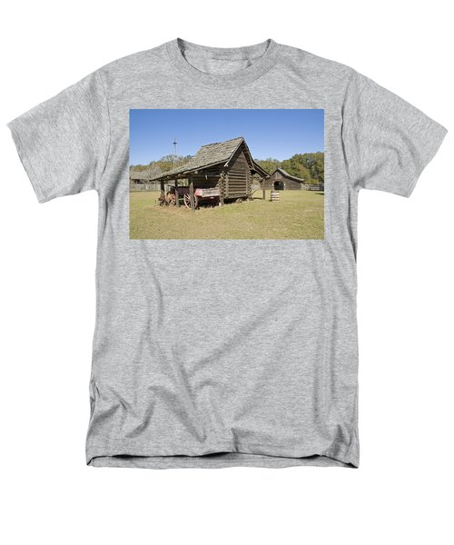 Men's T-Shirt  (Regular Fit) featuring the photograph Log Cabin And Barn by Charles Beeler