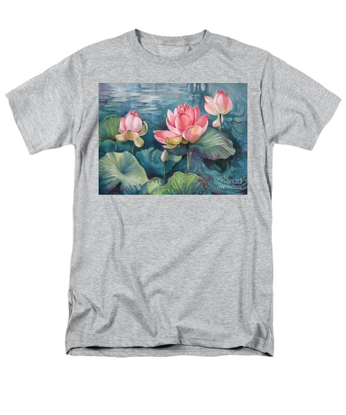 Men's T-Shirt  (Regular Fit) featuring the painting Lotus Pond by Elena Oleniuc