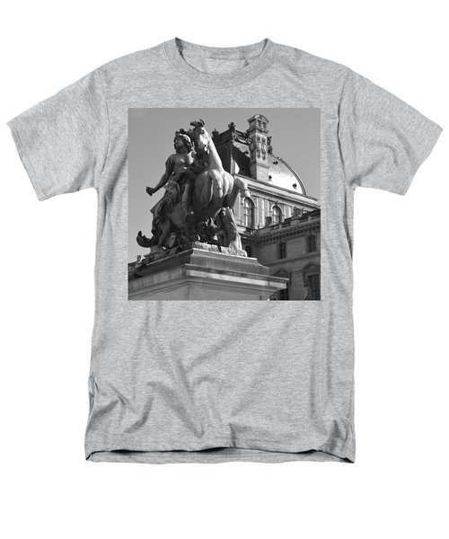 Louvre Man On Horse Men's T-Shirt  (Regular Fit) by Cheryl Miller