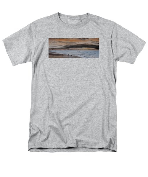 Men's T-Shirt  (Regular Fit) featuring the painting Man And Dog On The Beach by Ian Donley