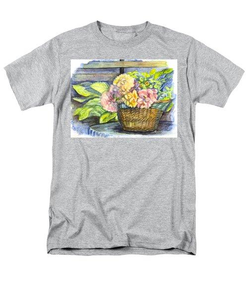 Marias Basket Of Peonies Men's T-Shirt  (Regular Fit) by Carol Wisniewski