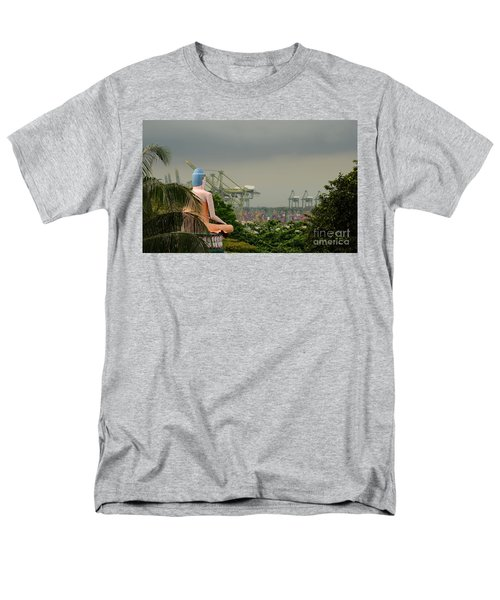 Men's T-Shirt  (Regular Fit) featuring the photograph Meditating Buddha Views Container Seaport Singapore by Imran Ahmed