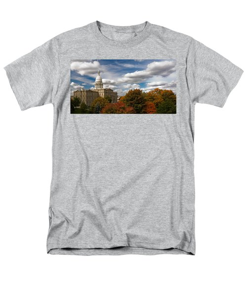 Men's T-Shirt  (Regular Fit) featuring the photograph Michgan Capitol - Autumn by Larry Carr