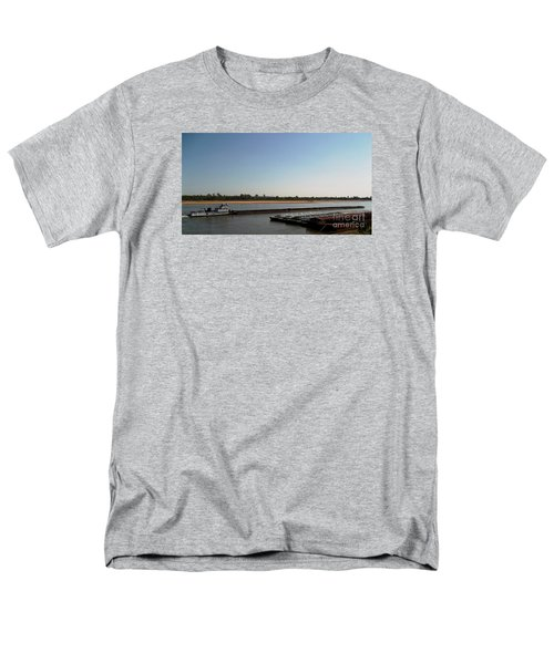 Men's T-Shirt  (Regular Fit) featuring the photograph Mississippi River Barge by Kelly Awad