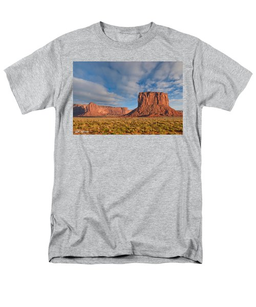Men's T-Shirt  (Regular Fit) featuring the photograph Mitchell Butte And Gray Whiskers In The Evening Light by Jeff Goulden