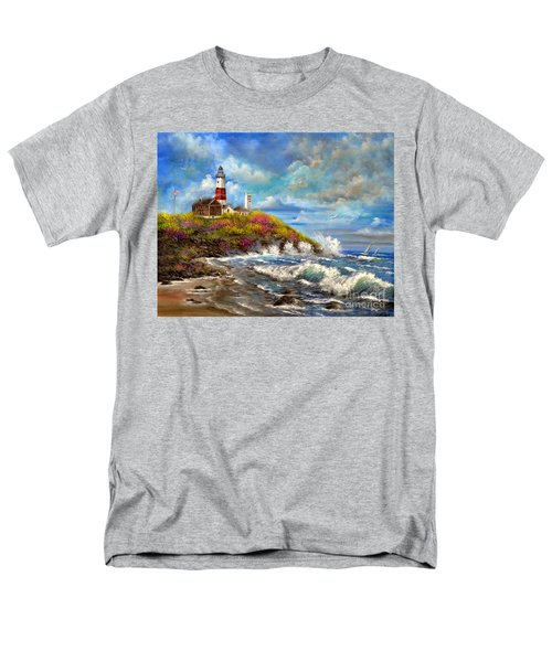 Montauk Lighthouse Men's T-Shirt  (Regular Fit) by Patrice Torrillo