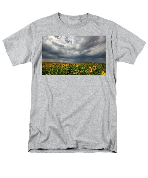Men's T-Shirt  (Regular Fit) featuring the photograph Moody Skies Over The Sunflower Fields by Ronda Kimbrow