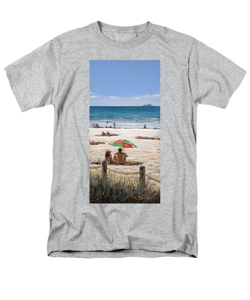 Men's T-Shirt  (Regular Fit) featuring the painting Mt Maunganui Beach 090209 by Sylvia Kula
