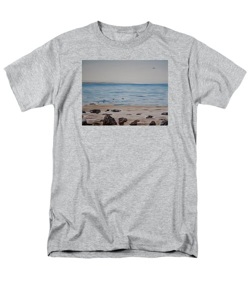 Men's T-Shirt  (Regular Fit) featuring the painting Pelicans At El Capitan by Ian Donley
