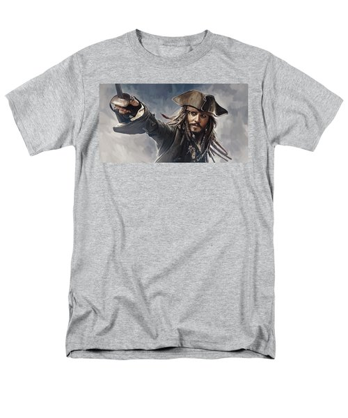 Pirates Of The Caribbean Johnny Depp Artwork 2 Men's T-Shirt  (Regular Fit) by Sheraz A