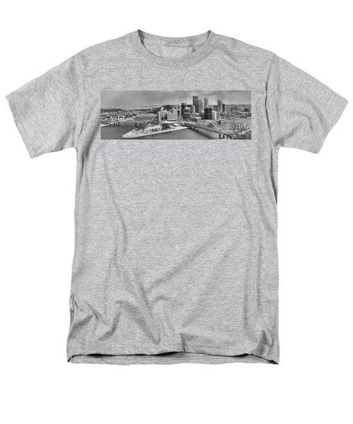 Pittsburgh Black And White Winter Panorama Men's T-Shirt  (Regular Fit) by Adam Jewell