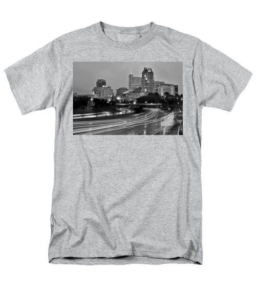 Men's T-Shirt  (Regular Fit) featuring the photograph Raleigh Skyline At Dusk Evening Black And White Bw Evening Panorama North Carolina Nc by Jon Holiday