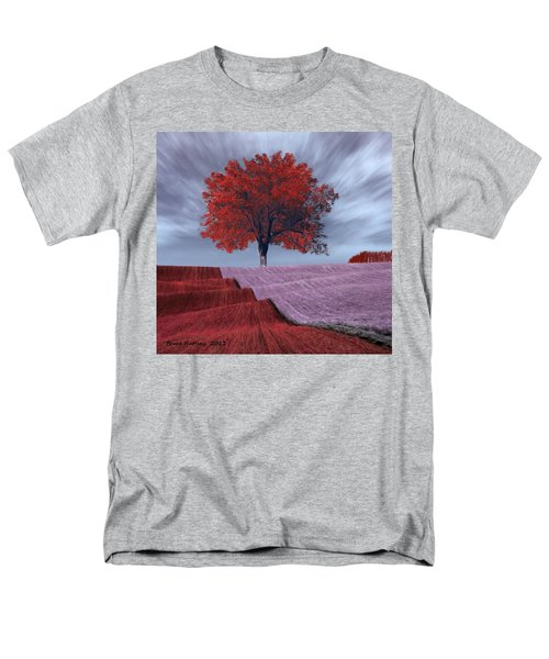 Men's T-Shirt  (Regular Fit) featuring the painting Red Tree In A Field by Bruce Nutting