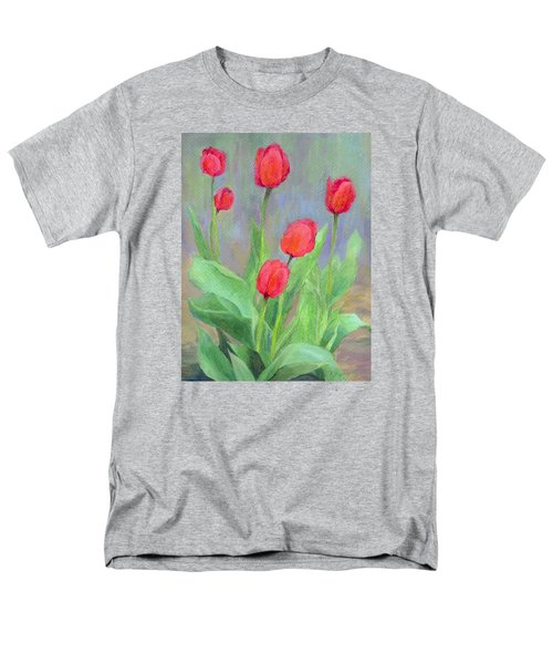 Red Tulips Colorful Painting Of Flowers By K. Joann Russell Men's T-Shirt  (Regular Fit) by Elizabeth Sawyer