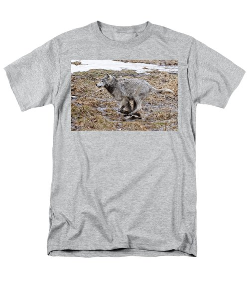 Men's T-Shirt  (Regular Fit) featuring the photograph Running Timber Wolf by Wolves Only