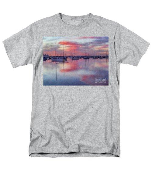 Men's T-Shirt  (Regular Fit) featuring the digital art San Diego - Sailboats At Sunrise by Lianne Schneider