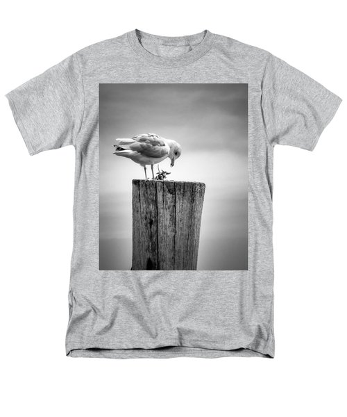 Seagull On Pier  Men's T-Shirt  (Regular Fit) by Brian Caldwell