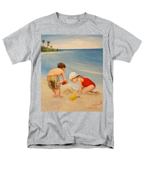 Men's T-Shirt  (Regular Fit) featuring the painting Seashell Sand And A Solo Cup by Alan Lakin