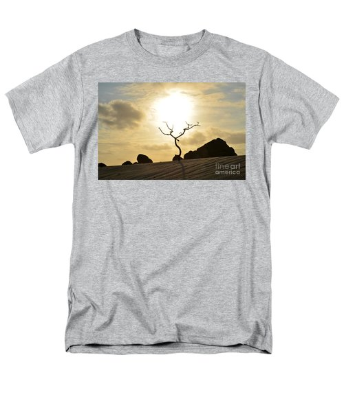 Silhouetted Tree At Dawn In Aruba Men's T-Shirt  (Regular Fit) by DejaVu Designs
