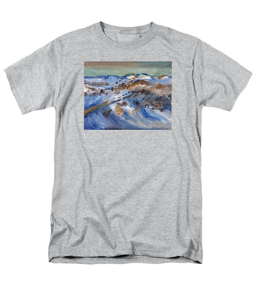 Men's T-Shirt  (Regular Fit) featuring the painting Snow Covered Sand Dunes Of Cape Cod by Michael Helfen