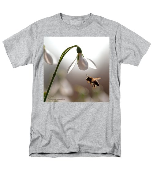 Snowdrops And The Bee Men's T-Shirt  (Regular Fit) by Torbjorn Swenelius