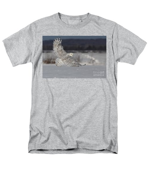 Snowy Owl In Flight Men's T-Shirt  (Regular Fit) by Mircea Costina Photography