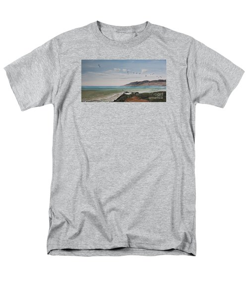 Men's T-Shirt  (Regular Fit) featuring the painting Squadron Of Pelicans Central Califonia by Ian Donley