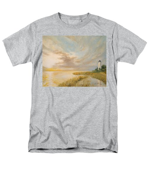 Men's T-Shirt  (Regular Fit) featuring the painting St Marks Lighthouse by Alan Lakin