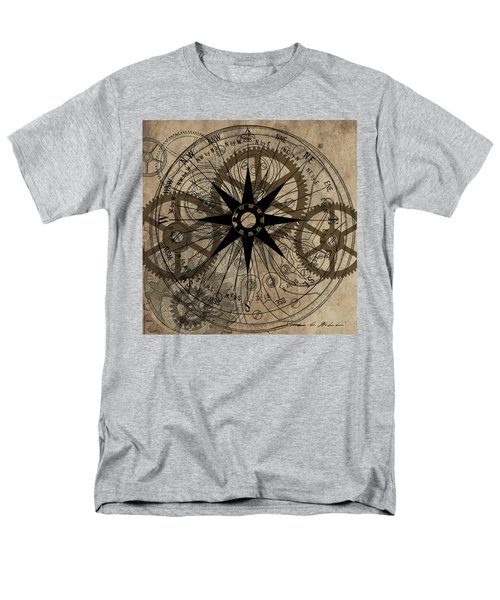 Men's T-Shirt  (Regular Fit) featuring the painting Steampunk Gold Gears II  by James Christopher Hill